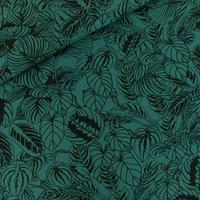 """Sweat léger """"French Terry"""" imprimé Cozy Plants coloris mallard green 20 x 150 cm"""