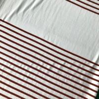 Panneau maille polo rayure rouille lurex 24 cm de blanc / 51 cm de rayures x 140 cm