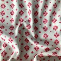 "Jersey velours ""pyjama"" flocons fond blanc 20 x 160 cm"
