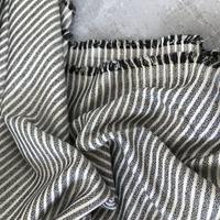 Viscose rayée fil lurex marine et beige 20 x 140 cm