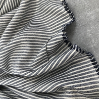 Viscose rayée fil lurex gris foncé et beige 20 x 140 cm