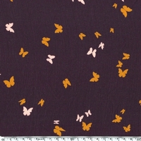 Crêpe texturé papillons fond aubergine 20 x 140 cm