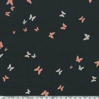 Crêpe texturé papillons fond noir 20 x 140 cm