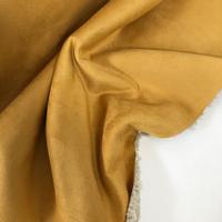 Suédine doublée fausse fourrure coloris moutarde 20 x 140 cm