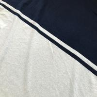 Panneau maille douce 44 cm marine / 4 cm de rayures / 66 cm gris soit 1m14 x x 1m80 de laize