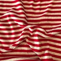 Jersey rayé rouge et crème 20 x 125 cm