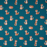 Jersey renards coloris pétrole 20 x 140 cm