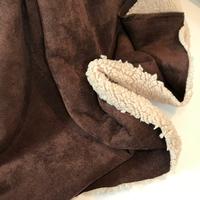 Suédine doublée fausse fourrure coloris marron 20 x 140 cm