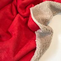 Suédine doublée fausse fourrure coloris rouge 20 x 140 cm