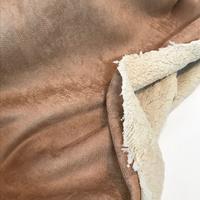 Suédine doublée fausse fourrure coloris camel 20 x 140 cm