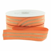 Elastique orange rayures lurex doré 30mm x 10cm