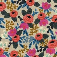Tissu lin/coton Rifle Paper Les fleurs Rosa Floral 20 x 110 cm