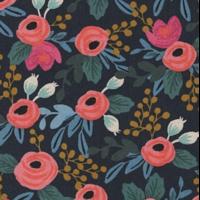 Tissu lin/coton Rifle Paper Les fleurs marine 20 x 110 cm