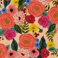 Tissu lin/coton English Roses fond clair 20 x 110 cm