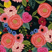 Tissu lin/coton English Roses fond foncé 20 x 110 cm