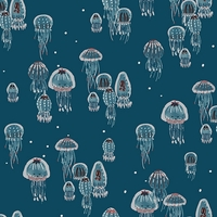 Tissu Kaikoura nacré méduses fond bleu 20 x 110 cm