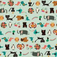 Tissu Kawaii Nakama animaux fond menthe 20 x 110 cm