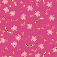 Tissu Kawaii Nakama arc-en-ciel fond rose 20 x 110 cm