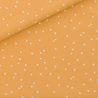 """Sweat léger """"French Terry"""" imprimé Snow Dots coloris jaune miel 20 x 150 cm"""