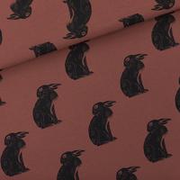 """Sweat léger """"French Terry"""" imprimé Hares coloris brun sable 20 x 150 cm"""