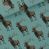 "Sweat léger ""French Terry"" imprimé Deer coloris bleu trellis 20 x 150 cm"