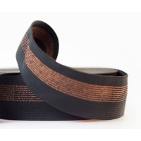 Elastique large noir rayures cuivre vendu par multiple de 10 cm