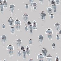 Tissu Kaikoura nacré méduses fond gris 20 x 110 cm