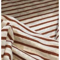 Jersey de lin rayé cuivre lurex 20 x 125 cm