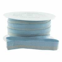 Biais élastique 17mm bleu rayé lurex or x 10cm