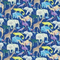 Liberty Queue for Zoo fond bleu coloris C 20 x 137 cm