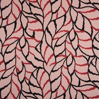 Twill de viscose feuillages fond vieux rose 20 x 140 cm