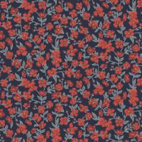 Liberty popeline Peach Blossom marine et rouge coloris A 20 x 145 cm