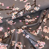 Jersey Modal fleurs de cerisier fond gris 20 x 140 cm