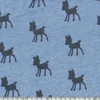 Molleton Biches à paillettes fond bleu chiné 20 x 140 cm