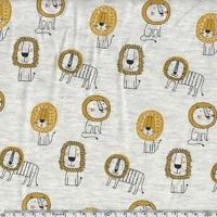 Jersey Lions fond beige chiné 20 x 140 cm