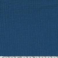 Tissu double gaze de coton coloris indigo 20 x 135 cm