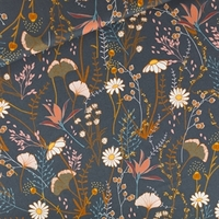 Sergé gabardine de coton Flower Field coloris night blue 20 x 140 cm