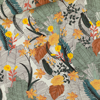 """Sweat léger """"French Terry"""" imprimé Tropic Flowers coloris chalk blue 20 x 150 cm"""
