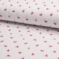 Jersey ajouré 100% coton imprimé cerises 20 x 140 cm