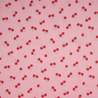 Jersey parfumé cerises fond rose 20 x 140 cm
