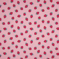Jersey parfumé fraises fond rose 20 x 140 cm