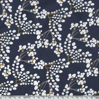 Popeline Cherry blossom bleu/violet 20 x 140 cm