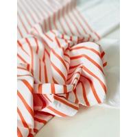 Panneau jersey 23 cm uni blanc / 66 cm rayé blanc corail / 30 cm uni blanc x 135 cm de large soit  1m19 x 135 cm