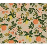 Tissu lin/coton Primavera oranges et citrons fond clair 20 x 110 cm