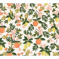 Tissu Rifle Paper Primavera oranges et citrons fond beige 20 x 110 cm
