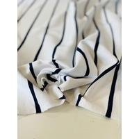 Jersey rayures espacées marine fond blanc 20 x 130 cm