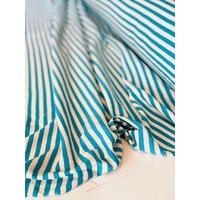 COUPON de Jersey lin/coton rayures turquoise 2m x 185 cm