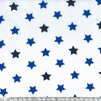Jersey blanc étoiles bleues 20 x 140 cm