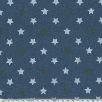 Molleton fin bleu chiné étoiles kaki et blanc 20 x 140 cm