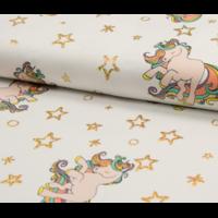 Jersey licornes à paillettes 20 x 140 cm
